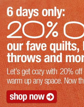 6 days only: 20% off our fave quilts,  bedding, throws and more.