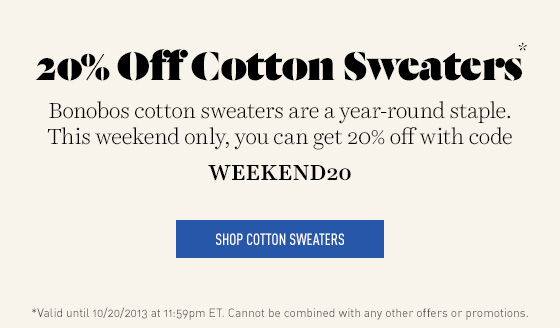 20% off Cotton Sweaters