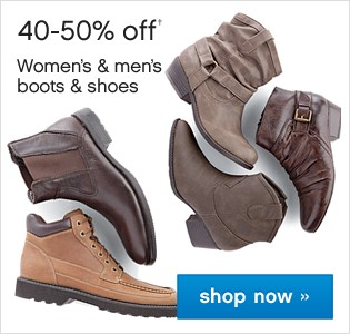 40-50% off Womens and Mens Boots and Shoes. Shop now.