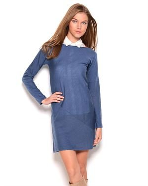 Stefanel Collectible Wool Boat Neck Dress