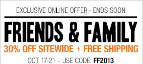 Friends & Family 30%off sitewide + Free shipping*