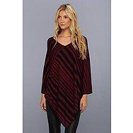 BCBGMAXAZRIA Striped Poncho Sweater Sportswear Top