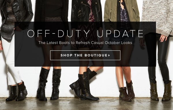 Off-Duty Update The Latest Boots to Refresh Casual October Looks - - Shop the Boutique