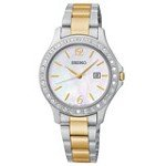 Seiko SXDF95 Women's Swarovski Crystal MOP Dial Two Tone Bracelet Quartz Watch