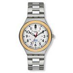 Swatch YGS462G Men's Irony Snice Peach Bezel Silver Dial Stainless Steel Watch