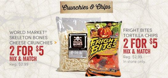 World Market Skeleton Bones Cheese Crunchies & Fright Bites Tortilla Chips - Sale 2 for $5