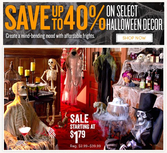 Save up to 40% off Select Halloween Décor