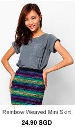 SOMETHING BORROWED Rainbow Weaved Mini Skirt