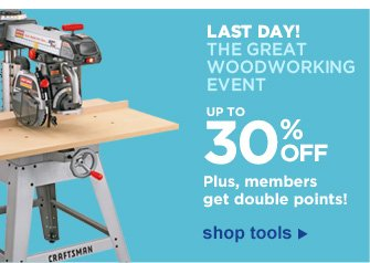 LAST DAY! The Great Woodworking Event | Up to 30% Off | Plus, members get double points! | Shop Tools