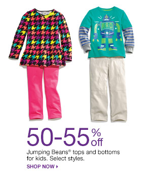 50-55% off Jumping Beans tops and bottoms for kids. Select styles.