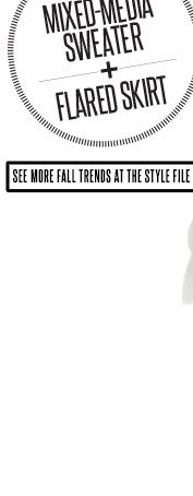 Try This Mixed-Media Sweater + Flared Skirt. See more fall trends at The Style File