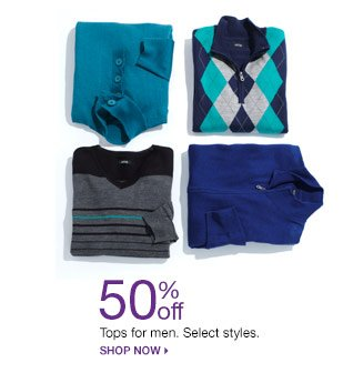 50% off Tops for for men. Select styles. Shop Now