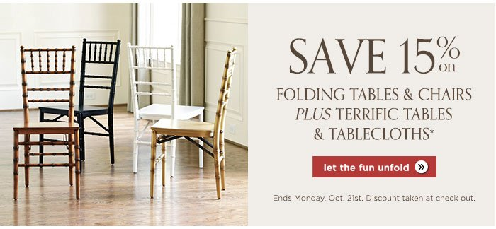 Save 15% on folding tables and chairs