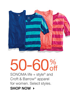 50-60% off SONOMA life + style and Croft & Barrow apparel for women. Select styles. Shop Now
