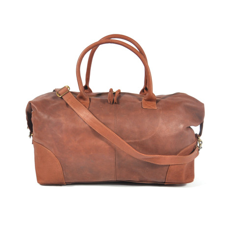 Leather Weekender Bag // Brown