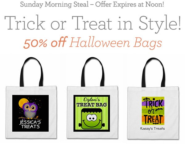 Sunday Morning Steal - Offer Expires at Noon! Trick or Treat in Style-50% off Halloween Bags