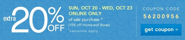 Extra 20% off. Online Only. See details.