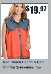 Red Ranch Denim Tank Top