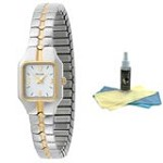 Pulsar PC3096 Women's Quartz Two Tone White Dial Watch with 30ml Ultimate Watch Cleaning Kit