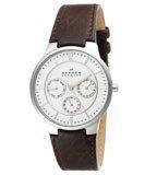 Skagen 331XLSL1 Men's Denmark Brown Leather Strap White Dial Quartz Watch