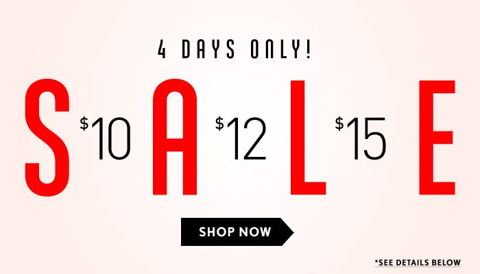 4 Days Only - Price Point Sale