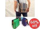 Faux-Leather Trim Messenger Bag