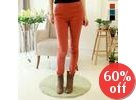 Button-Accent Skinny Pants