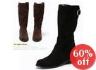 Faux-Suede Fleece-Lined Mid-Calf Boots