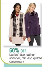 60% off ladies' faux leather, softshell, rain and quilted outerwear