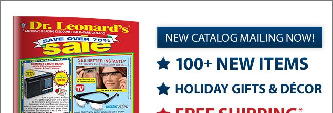 New Catalog Mailing Now - Click For Free Shipping*
