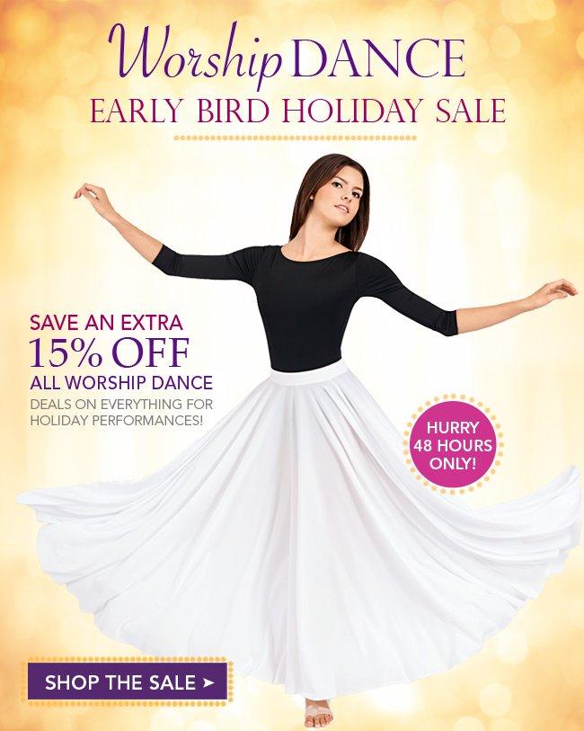 Enjoy 15% off all worship dancewear now.