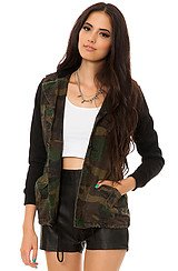The Combat Cotton Canvas Hooded Jacket in Camo