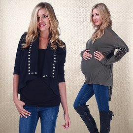 Faux Leather & Studs: Maternity
