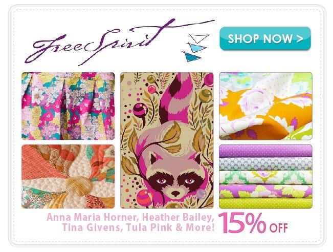 15% off Free Spirit Cotton Prints