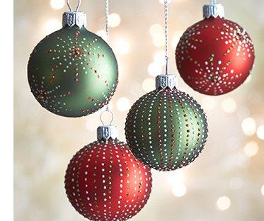 Dot Burst and Stripe Ball Ornaments $3.95  each