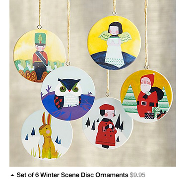 Set of 6 Winter Scene Disc Ornaments  $9.95