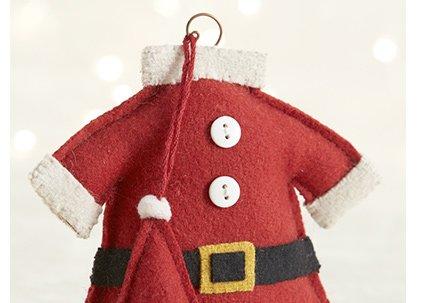 Felt Santa Suit Ornament $6.95