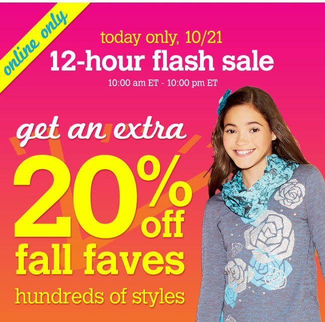 extra 20% off fall faves