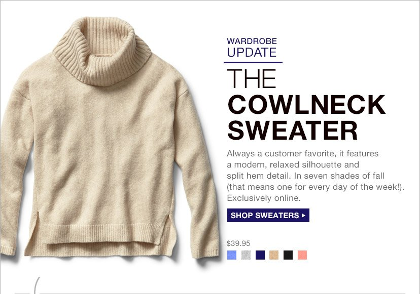 THE COWLNECK SWEATER | SHOP SWEATERS