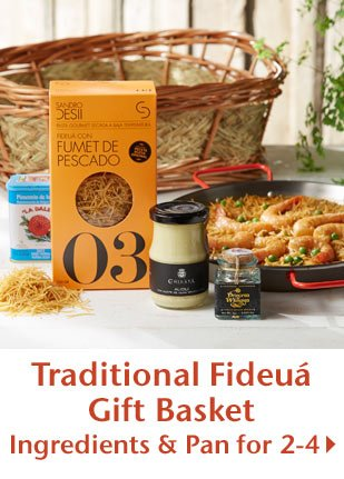 Traditional Fideua Gift Basket - Ingredients and Pan for 2-4
