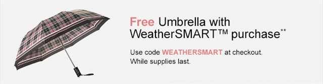 Free Umbrella with code WEATHERSMART