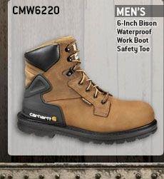Men's 6-inch Bison Waterproof Work Boot/Safety Toe