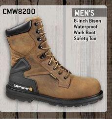 Men's 8-inch Bison Waterproof Work Boot/Safety Toe