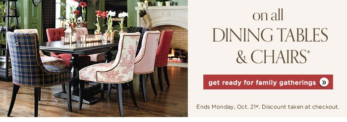 Save 15% on all dining tables and chairs