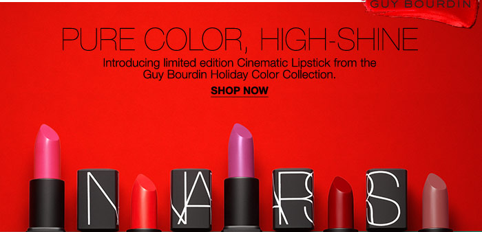 Pure Color, High-Shine Introducing limited edition Cinematic Lipstick from the Guy Bourdin Holiday Color Collection.