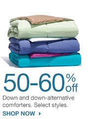 50-60% off Down and down-alternative comforters. Select styles. SHOP NOW