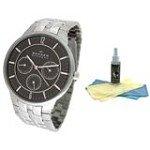 Skagen 331XLSXM Men's Denmark Stainless Steel Black Dial Quartz Watch with 30ml Ultimate Watch Cleaning Kit