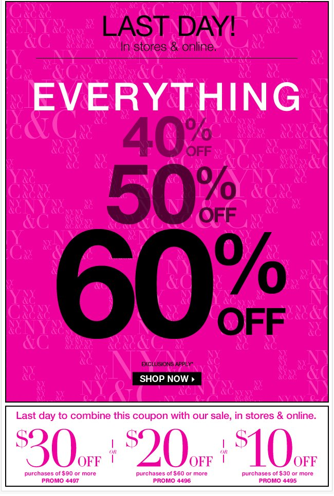 Last day - Everything 40%, 50%, 60% Off! Shop Now!