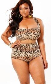 Women's Plus Size Swimwear - Monif C Sao Paulo Plus Size Underwire Leopard Bikini Top ONLY - NO RETURNS