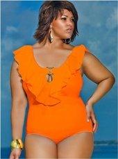 Women's Plus Size Swimwear - Monif C Trinidad Ruffle Plus Size Swimsuit #712 NO RETURNS